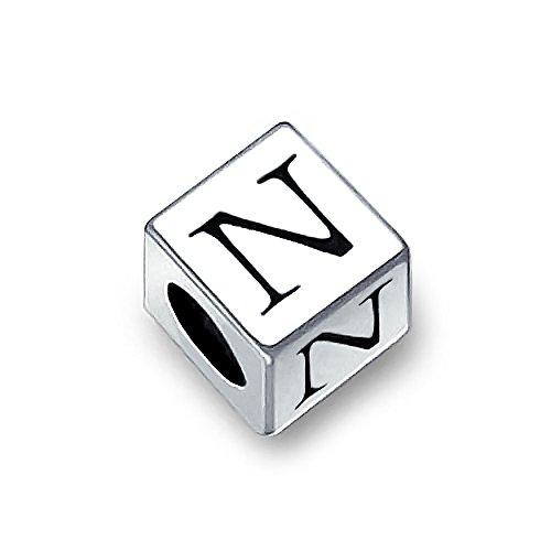 (Block Letter N Alphabet Initial Charm Bead For Women For Teen 925 Sterling Silver For European Bracelet)
