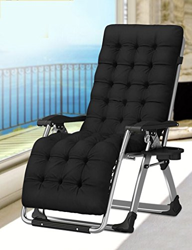 Lounge Siesta Folding (Folding Chairs ZR Single Bed Lunch Break Simple Folding Lounge Chair Lunch Break Office Siesta Bed Camp Bed (Color : Black+silver))