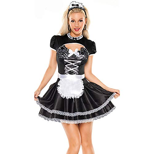 LVLUOYE Cosplay Costume, Black and White French Maid Costume, Maid Costume French Chef Uniform ()