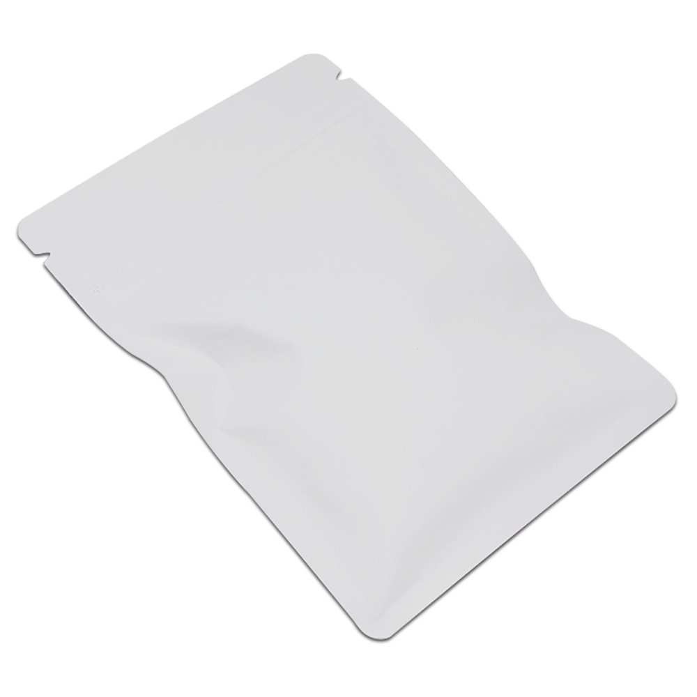 8x12cm (3.1''x4.7'') White Matte Aluminum Foil Grocery Bulk Food Storage Pack Reclosable Mylar Zip Lock Pouch Heat Commercial Bag Sealers Nut Coffee Tea Wrap Smell Proof with Tear Notches 1500 Pcs by BAT Pack (Image #1)