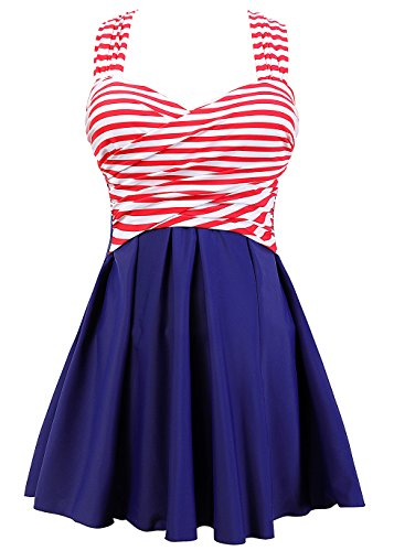 COCOPEAR Women's Elegant Crossover One Piece Swimdress Floral Skirted Swimsuit(FBA) Red Stripe Blue XL/10-12