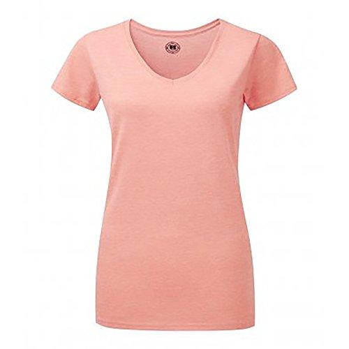 Russell - Camiseta de manga corta y cuello en V para mujer Coral