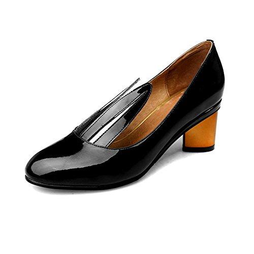 Nine Seven Cuero Moda Puntera Redonda Zapatos de Tacón Grueso para Mujer negro