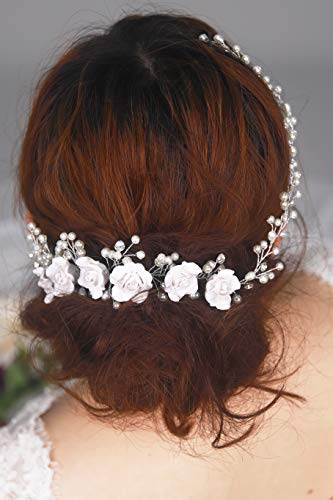 Brautschmuck Vintage-Stil silberfarben rustikal Hochzeit Haarkamm f/ür Abschlussball Haarband Perlenzweig und wei/ße Rose Kercisbeauty Haarschmuck f/ür Hochzeit