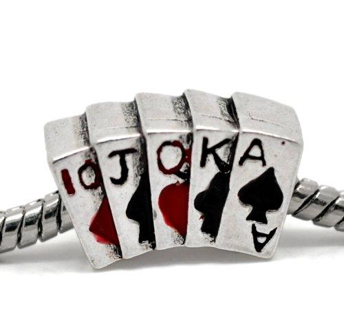 Poker Hand Charm Bead Fits Troll, Biagi, Zable, Chamilia, And Pandora Style Charm (Poker Hand Charm)