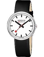 Mondaine A763.30362.11SBB Evo mini giant Black Leather Band White Dial Watch