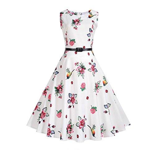 Janly Vintage Kleider Frau Casual Blumenmuster Vogel Druck Swing ...