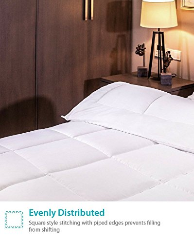 Equinox Comforter 350 GSM White alternate Goose lower Queen Hypoallergenic Plush Siliconized Fiberfill Box Stitched Protects Against Dust Mites and Allergens