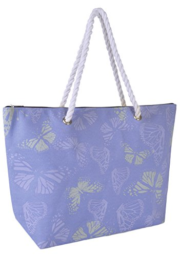 Tote Butterfly Metallic Holiday Summer Beach Dora Blue Reusable Womens Handbag Shoulder Lora Canvas Bag q0ORX8wxg