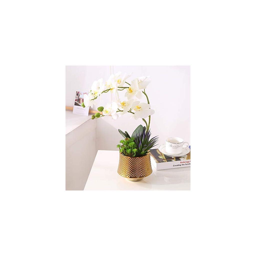 Large Artificial Orchid Phalaenopsis Arrangement Flower Bonsai With Golden Vase Table Centerpiece White 3 Silk Flower Arrangements