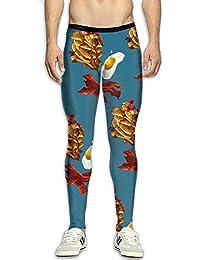 Food Egg Men's Skins Print Compression Baselayer Pants Men Panel Leggings For Travel Gym Tights Cold Weather