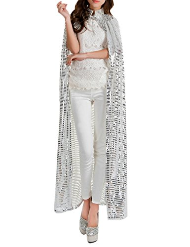 [Gameyly Women's Bling Halloween Party Costume Sequins Cape One Size Silver] (Cheap Ladies Devil Costume)