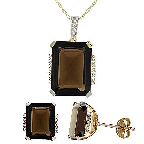Or jaune 9Ct naturel octogone Topaze Fumé Boucles d'oreilles et pendentif Set Accents de diamant
