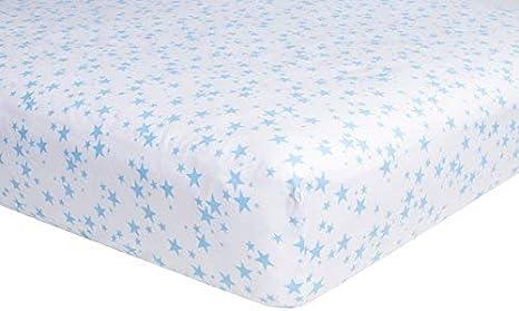 71/x 132/cm pack de 2/unidades dise/ño de estrellas azules S/ábana bajera ajustable para cuna fabricada con suave tejido de algod/ón de 200/hilos