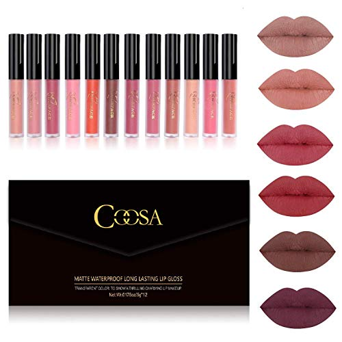 Coosa Matte Liquid Lipstick Set 12 PCS Colorstay and Waterproof Long Lasting Lip Stick with Healthy and Natural Materials