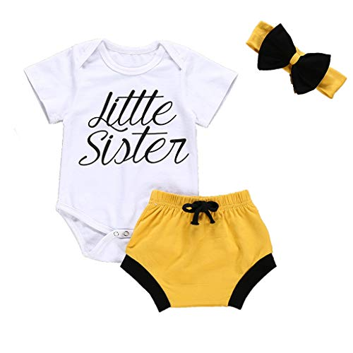 3pcs Newborn Infant Baby Girls Boys Summer Outfit Clothes, Letter Print Romper Tops + Shorts Pants + Bowknot Headband (White, 0-6 Months) ()
