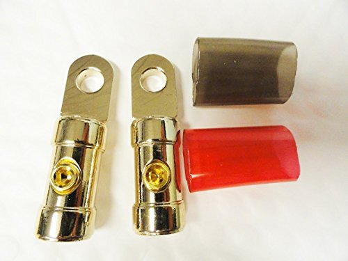 PAIR 4 Gauge Set Screw Style Ring Terminals Car Truck Solid Machined Brass 12V