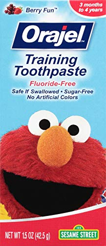 41v1jASotOL - Orajel Elmo Fluoride-Free Training Toothpaste, Berry Fun, One 1.5oz Tube: Orajel #1 Pediatrician Recommended Brand For Kids Non-Fluoride Toothpaste