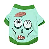 Futemo Happy Halloween Pet Clothes, Moster Print Vest T-Shirts Vest Clothing Apparel for Small Pet Dog Cat Puppy Costume (L, Green)