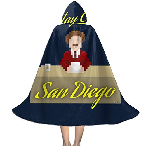 Best Halloween Decorations San Diego (Anchorman Ron Burgundy Pixellated Stay Classy San Diego Unisex Kids Hooded Cloak Cape Halloween Party Decoration Role Cosplay Costumes)