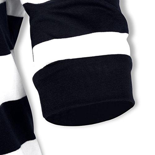 cappuccio con lunghe a maniche Nero FANTIGO a Camicia Felpa donna da righe a6Anfqp