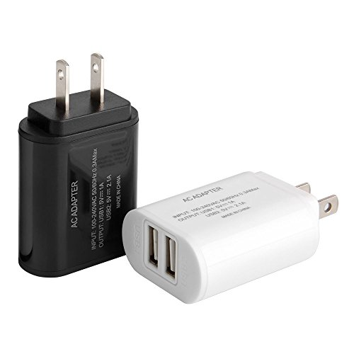 Wall Charger,2pc 5V Max 2.1Amp with Smart IC Protection AC/DC Dual Port Universal USB Power Adapter Wall Plug for iPhone 6 6S Plus SE 5S iPad Samsung Galaxy S7 S6 Edge Note 5 and More Black/White (Ac Plugs And Usb Ports compare prices)