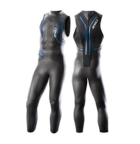 2XU Men's A:1 Active Sleeveless Wetsuit, Small Tall, Black/Cobalt Blue by 2XU