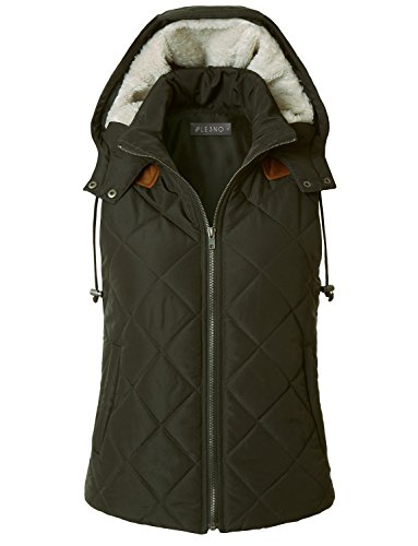 LE3NO Womens Lightweight Fully Lined Quilted Puffer Vest With Fleece Hoodie (Green Quilted Vest)