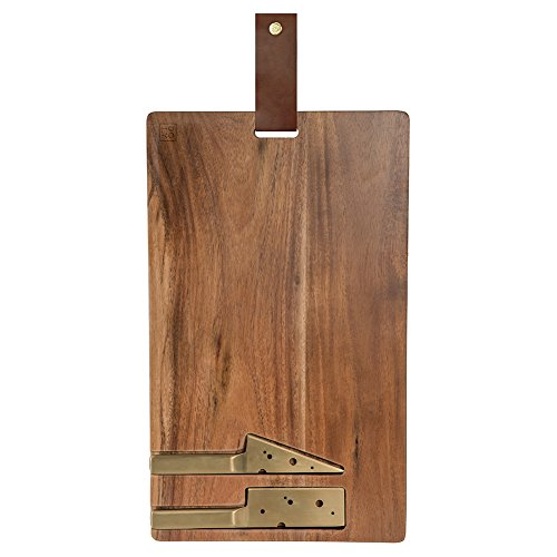 - DOIY Acacia Wooden Cheeseporn Board with 2 Cheese Shape Triangle Square Gold Plating Knife, Leather Strap, 13.8 X 8.3inch