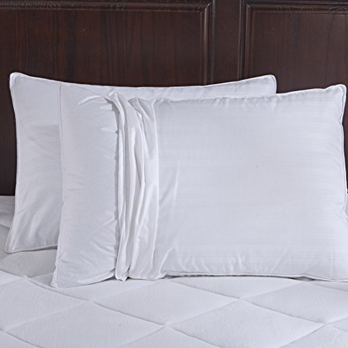 Puredown Pillow 600 Fill Power Goose Down Gusset 2 Outer Protectors, 100% Cotton Fabric, Standard/Queen Size, White, Set of 2, King, Color1 by Puredown