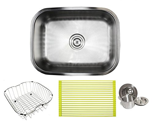 23 Inch Stainless Steel Undermount Single Bowl Kitchen Sink – 16 Gauge