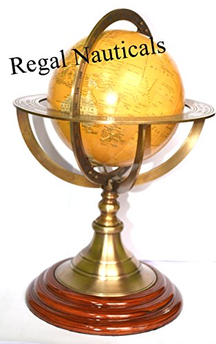 Brass Antique Finish Armillary With Globe 11'' Table Top Decorative Armillary by Nautical India