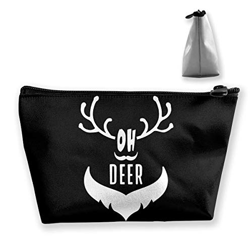 sport outdoor 003 Oh Deer Funny Pun Halloween Trapezoidal Makeup Pouch Storage Bag Card Package Handbag Coin Purse -