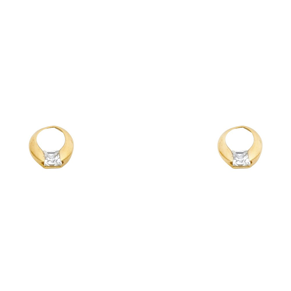 Wellingsale 14K Yellow Gold Polished Circular Stud Earrings With Screw Back