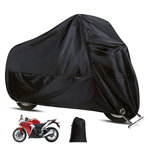 (LUVODI Waterproof Motorcycle Cover All Weather Outdoor UV Protection Bag Windproof Durable Tear-Proof 190T Polyester Fits Up to 108 Inch Vehicles Like Honda, Yamaha, Suzuki, Harley, Cruiser eBikes)