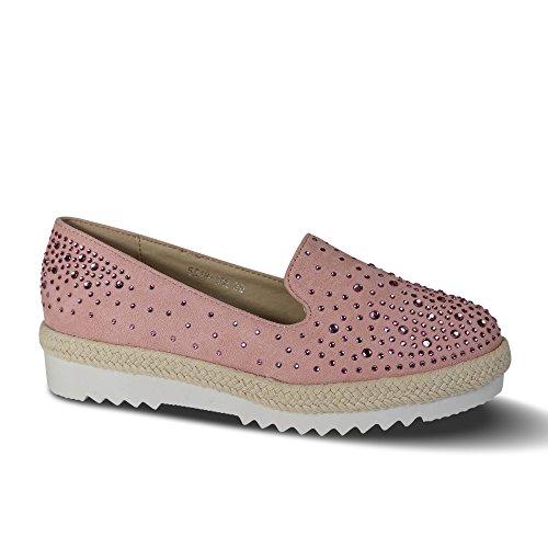 Schuhtraum Damen Slipper Plateau Sneakers Ballerinas Glitzer Nieten ST551  Rosa 7bb519a7c8