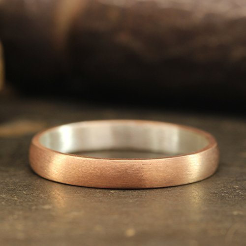 FREE Engraving 3mm Wedding Band 18K Rose Gold Vermeil 925 Sterling Silver Satin Finish Matte Half Round Domed Mens Women Unisex Thick Handmade Ring