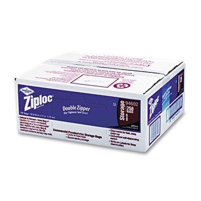 (Ziploc 682257 Double Zipper Bags, Plastic, 1gal, 1.75mil, Clear w/Write-On Panel, 250/Box)