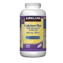 kirkland Signature Calcium Plus with Vitamin D3 & Minerals, 600mg/800IU, 500 tabs