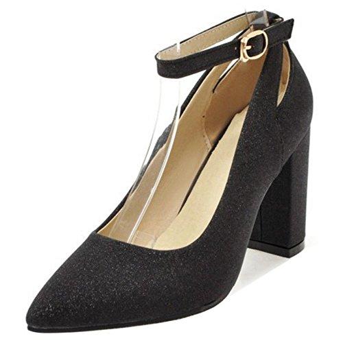 Black Ancho Tacon Para Zapatos Mujer RAZAMAZA de xz71ZwSF