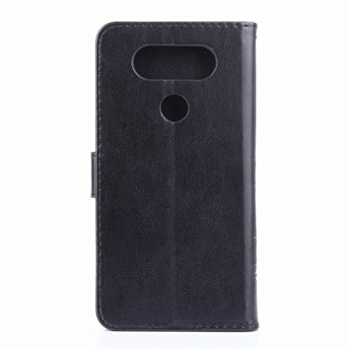 Yiizy LG V20 (H910, H918, LS997. US996. VS995) Custodia Cover, Erba Fiore Design Premium PU Leather Slim Flip Wallet Cover Bumper Protective Shell Pouch with Media Kickstand Card Slots (Nero)