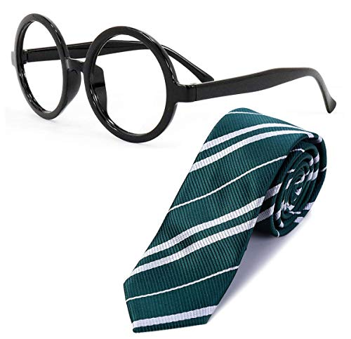 Sawaruita Striped Tie with Novelty Glasses Frame, for School \Christmas\ Cosplay Costumes Accessories, Suit Kids Teens、Women and Men (Deep Green)