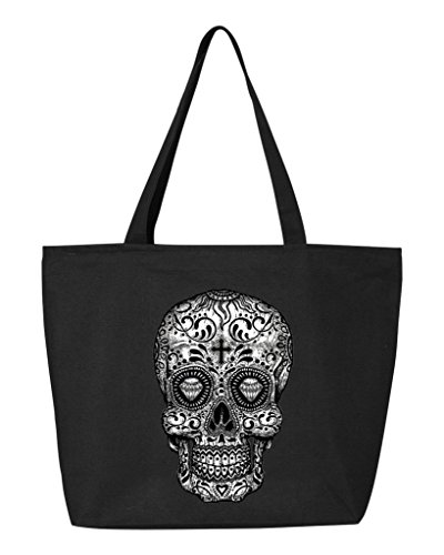(Shop4Ever Skull Black & White Heavy Canvas Tote with Zipper Day of the Dead Reusable Shopping Bag 12 oz Black 1 Pack)