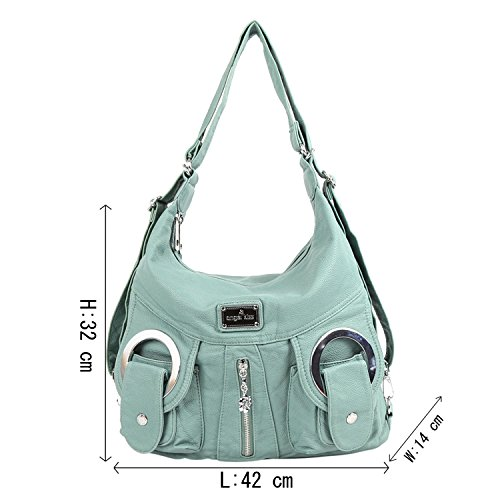 Purses Leather Handbags W6802 Pockets Bags Backpack Washed Green Angelkiss Top Shoulder 2 Multi Zippers 0Xw8nF7