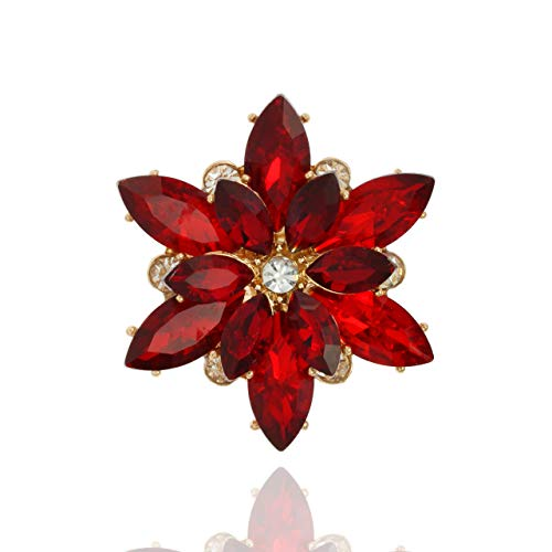 - SP Sophia Collection Women's Sparkly Flower Burst Crystal Cluster Stretch Ring in Red