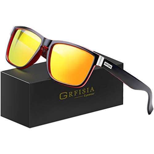GRFISIA Vintage Polarized Sunglasses for Men and Women Driving Sun glasses 100% UV Protection (black red frame- red ()