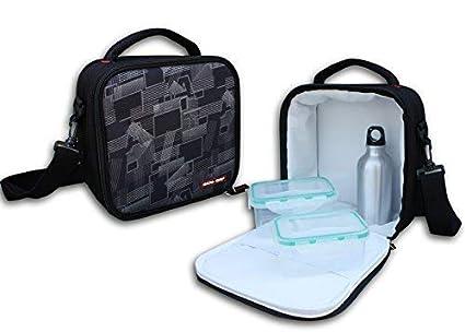 ECO-DE Bolsa isotérmica Porta Alimentos Modelo Deluxe con 2 tuppers (350 y 600 ml) y Termo Aluminio (300ml)