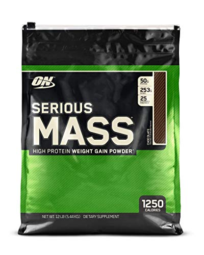 OPTIMUM NUTRITION Serious Mass Weight Gainer Protein Powder, Chocolate, 12 Pound (Best Protein To Add Muscle Mass)