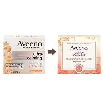 Aveeno Ultra-Calming Nourishing Night Cream for Sensitive Skin with Calming Feverfew & Nourishing Oat, Non-Comedogenic, Oil-Free & Hypoallergenic, 1.7 oz