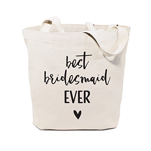 The Cotton & Canvas Co. Best Bridesmaid Ever Wedding, Beach, Shopping and Travel Resusable Shoulder Tote and Handbag